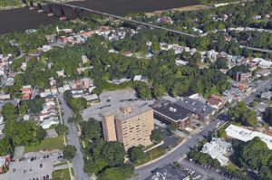 Bird's eye view of Interfaith Towers looking towards the Walkway over the Hudson.