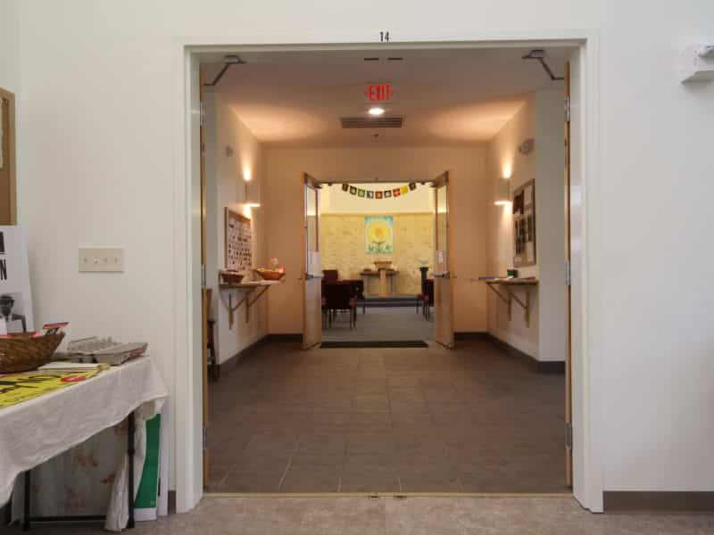 View from from Fellowship hall through entrance towards Sanctuary.