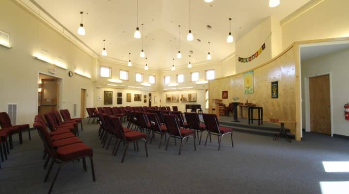 Main room of Unitarian Church.