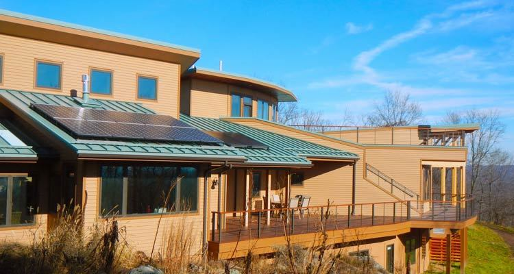 Image of modern home with solar.