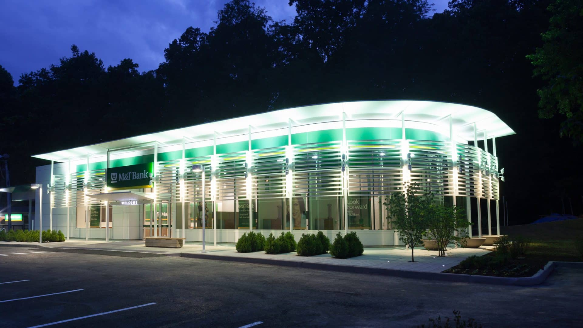 Exterior evening view of M&T Bank - LEED Consulting Project